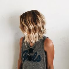 lob, short hair, waves, blonde