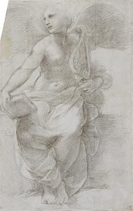Raphael (Raffaello Sanzio) (1483-1520) An allegorical figure of Poetry c.1509-10, black chalks over stylus underdrawing