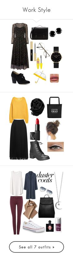 """""""Work Style"""" by anujith ❤ liked on Polyvore featuring Warehouse, Lands' End, West Coast Jewelry, CLUSE, Yves Saint Laurent, Maybelline, Oasis, Gearonic, NARS Cosmetics and Avenue"""