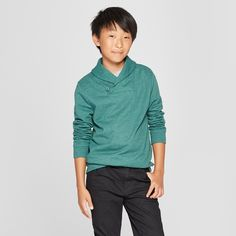 61b5c8465a5 Your guy will be ready for cooler weather in the Long-Sleeve French Terry  Sweatshirt from Cat and Jack. Made from a soft cotton-blend fabric this boys   ...