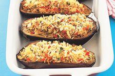 Spicy Rice-filled Eggplant Recipe - Taste.com.au  http://www.taste.com.au/recipes/2396/spicy+rice+filled+eggplant