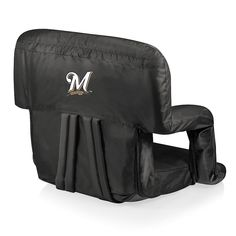 Picnic Time Milwaukee Brewers Ventura Portable Reclining Seat, Black