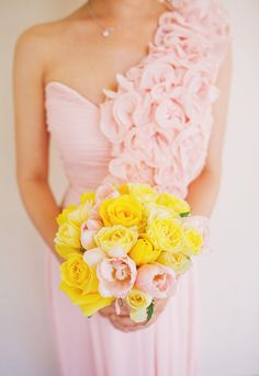 pink bridesmaid dress. yellow spring bouquet