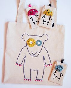 "Handmade ""bear"" tote bag and ""dog"" phone cases - crochet and embroidery"