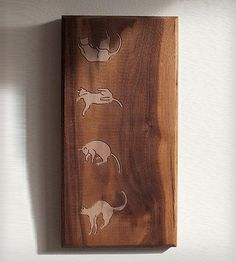 Sequenced Falling Cat Wood Art by Dave Marcoullier on Scoutmob Shoppe