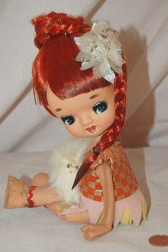Cute Vintage 60s Big Eyes/ Eyed Titan  BraidTeen Stockingette Doll & Fur Dog #BigEyedStockinettedoll