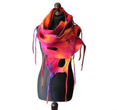 Felted scarf felt scarf felted collar felted multicolor orange yellow red fuchsia purple felt summer boho OOAK on Etsy, $72.00