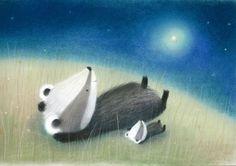This is so cute - Dubravka Kolanovic - baby badger night. Badger Illustration, Cute Animal Illustration, Children's Book Illustration, Baby Badger, Animal Magic, Cute Monsters, Watercolor Animals, Wildlife Art, Art Blog