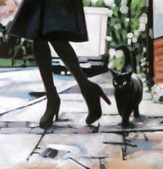 "Saatchi Art Artist thomas saliot; Painting, ""Black cat"" #art"