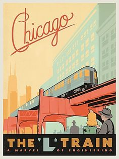 Vintage Chicago L Train travel poster by Anderson Design Group at www.windycityprints.com