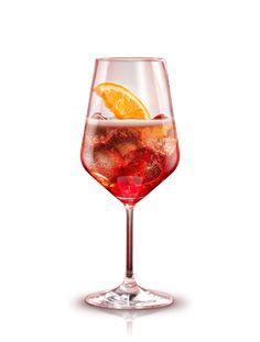 Campari Spritz: - 2 parts Campari - 1 part club soda or Pellegrino - 3 parts prosecco. Pour all ingredients directly into a wine glass. Garnish with a slice of orange.