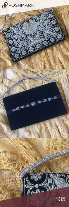 Vintage Zardosi Gold Embroidered Velvet Clutch Absolutely gorgeous Art Deco Zardosi (gold and silver wire embroidered) vintage clutch. Handmade in India. There is some fraying on the handle and around some of the embroidery. Vintage Handmade Bags Clutches & Wristlets