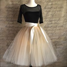 Champagne tulle  tutu skirt with ivory satin waist for  women. | Etsy