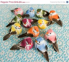 SALE Mushroom Birds 12 Plump Colorful Assorted by CraftCabaret, $13.73
