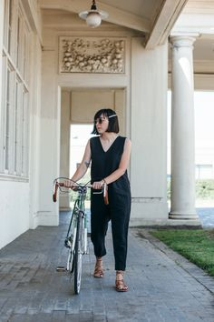 outfit: cycle chic with papillionaire - calivintage Cycle Chic, Cycling, Overalls, Cute Outfits, Bike, My Style, How To Wear, Pants, Clothes