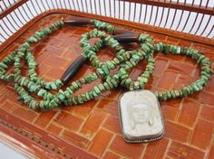 Magnesite and Horn Bead Necklace with Buddha by  Stone and Stem.  #buddha #etsy #handmade #boho