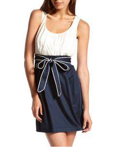 I saw this today...so need to go back for it lol.  Ivory top with dark navy & you can tie the tie in the front or the back ^-^