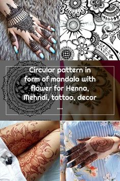 Circular pattern in form of mandala with flower for Henna, Mehndi, tattoo, decoration. Decorative ornament in ethnic oriental style. Coloring book page. Mehndi Tattoo, Henna Mehndi, Oriental Style, Oriental Fashion, Circular Pattern, Henna Patterns, Book Pages, Coloring Books, Ethnic