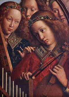 JAN VAN EYCK (1395-1441) - The Ghent Altarpiece - Angels Playing Music, detail - 1432. Sint-Baafskathedraal (Cathedral of St Bavo), Gent, Belgium.