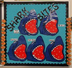 Shark-Bites - Students record their lunch choices for ocean theme classroom Ocean Bulletin Board, Elementary Bulletin Boards, Reading Bulletin Boards, Preschool Bulletin Boards, School Themes, Classroom Themes, Classroom Organization, Classroom Activities, School Ideas