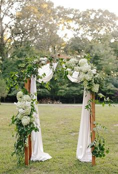 Wooden Ceremony Arch with Hydrangeas and Greenery. HydrangeaIf you love full-bodied flowers, this round bloom with an abundance of tightly packed petals, is the one for you. Bonus: its marriage-ready symbolism of perseverance and heartfelt emotion.Featured In: Wooden Ceremony Arch with Hydrangeas and GreeneryPhoto:  Annabella Charles