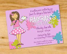 Ceramics- Pottery Painting- Birthday Party Invitation - Digital File or Printed. $12.00, via Etsy.