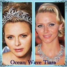 January and today's tiara is the Ocean Wave tiara. This was a wedding gift to Princess Charlene of Monaco from her husband Prince Albert. Royal Crowns, Royal Tiaras, Tiaras And Crowns, Wire Jewelry, Jewelry Art, Antique Jewelry, Clever Closet, Queens Jewels, Princess Charlene