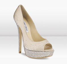 Jimmy Choo Sugar    These exquisite nude satin peep toe pumps with scattered hotfix Swarovski crystals make the perfect evening shoe.
