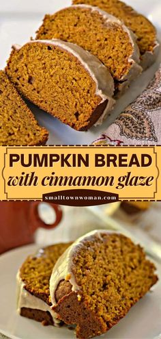 Kick off your fall baking with the BEST pumpkin bread! Not only is it moist, but it is also drizzled with a to-die-for cinnamon glaze. Your family will love this easy pumpkin recipe! Save this pin! Cinnamon Glaze Recipe, Cinnamon Bread, Recipe For Pumpkin Bread, Pumpkin Baking Recipes, Cookie Recipes, Dessert Recipes, Pumpkin Loaf, Moist Pumpkin Bread, Dessert