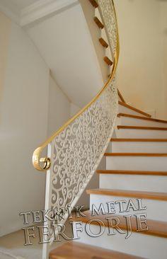 lazer kesim özel motif modern merdiven korkuluğu beyaz kod: MD-104