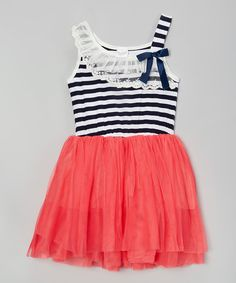 Another great find on #zulily! My Sunshine Shoppe Navy & Pink Stripe Tulle Dress - Infant, Toddler & Girls by My Sunshine Shoppe #zulilyfinds