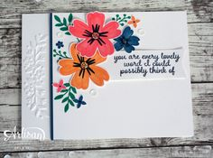 The Floral Affection Textured Impressions Embossing Folder adds a fun accent to the beautiful flowers from the Love & Affection stamp set -- by Amy O'Neill