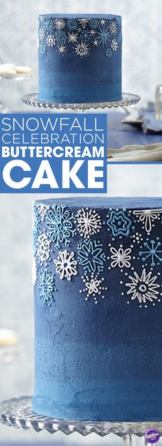 Snowfall Celebration Buttercream Cake - Celebrate snow, winter and special times with a snowflake-decorated buttercream cake. Wilton Delphinium Blue Icing Color and Sky Blue Icing Color create the deep blue dramatic background to show off the pale blue and pale violet piped snowflakes. Cake makes 12 servings.