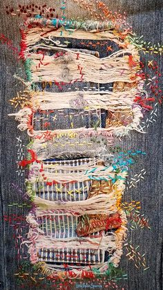 Distressed denim jeans, patchwork, boro, stitched, embroidery