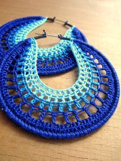 Artículos similares a Aros calados en azul en Etsy Supernatural Styl Crocheted Hoops by BohemianHooksJewelry on Etsy Hoop earrings in blue ombre, inspiration Free Crochet Instructions for Earrings How to Buy sell your used jewelry,jewelry and engagement Crochet Jewelry Patterns, Crochet Earrings Pattern, Crochet Accessories, Crochet Designs, Crochet Jewellery, Thread Crochet, Crochet Crafts, Crochet Stitches, Lace Knitting