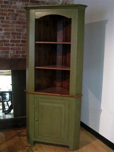 Reclaimed Wood Open Corner Cabinet in Barn Red - Lake and Mountain Home Small Corner Cabinet, Antique Corner Cabinet, Corner Hutch, Corner Cupboard, Corner Cabinets, Hutch Makeover, Furniture Makeover, Paint Furniture, Home Furniture