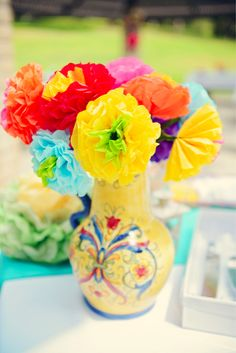 Handmade flowers for a fiesta.   #fiesta