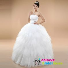 Style 5015, Excellent Tulle Ball Gown Strapless Chinese Wedding Dress by CBG.