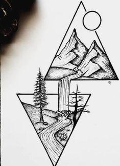 Art Drawings Sketches Simple, Pencil Art Drawings, Easy Drawings, Tattoo Drawings, Drawing Ideas, Drawing Drawing, Simple Tumblr Drawings, Drawing Tips, Scenery Drawing Pencil
