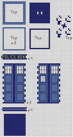 """3D Tardis"" ---> Use as a cross stich design on plastic canvas for a nerdy Christmas tree topper."