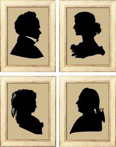 Silhouette prints, from Period Silhouette Vintage Silhouette, Black Silhouette, Silhouette Cameo, Silhouette Images, Wc Icon, Silhouette Painting, Silhouette Portrait, Victorian Dolls, Primitive Crafts