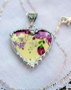 Broken China Jewelry, China Heart Necklace Pendant, Yellow and Rose Chintz, Sterling Silver Chain