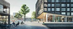 Image 8 of 16 from gallery of Orange Architects Wins Competition to Build Mixed-Use Development on Amsterdam Harbor. Courtesy of Orange Architects Amsterdam, Residential Architecture, Architecture Design, Win Competitions, Mixed Use Development, Timber Buildings, Architecture Visualization, Building Facade, Street View