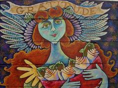 The ANGEL OF GRATITUDE Folk Art Painting on by mermaidmessenger, $500.00    http://bemorewithless.com/