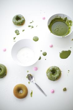 green tea donuts with white coconut sprinkles - recipe by coco cake land