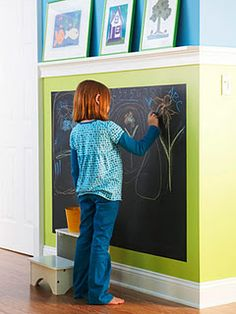 Ledge above chalkboard.