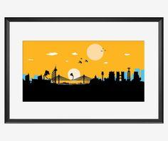 Lisbon Skyline print, Lisbon print, Lisbon art, Lisbon poster, Star Wars movie inspired print, Star Wars art, AT-AT print, at-at poster, art
