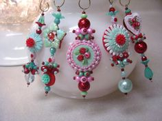 Red Aqua and Pink Dangles  5pc by ChristmasDangles on Etsy, $33.00