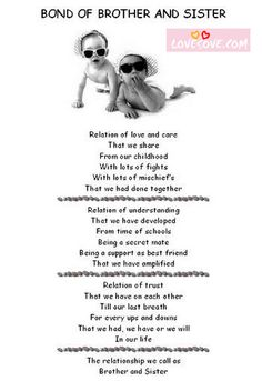 In simple language, love between brother and sister is described. Free online Bond Of Brother And Sister ecards on Brothers & Sisters Day Cute Sister Quotes, Brother Birthday Quotes, Brother Sister Quotes, Brother And Sister Love, Nephew Quotes, Funny Sister, Brothers And Sisters Day, Little Sisters, Quotes For Kids