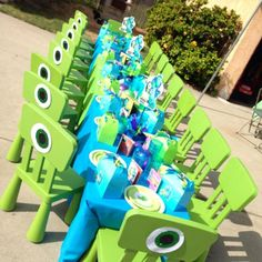 Monster's Inc Birthday Party Ideas.... Cute but the chairs would be super pricey at 15 bucks each